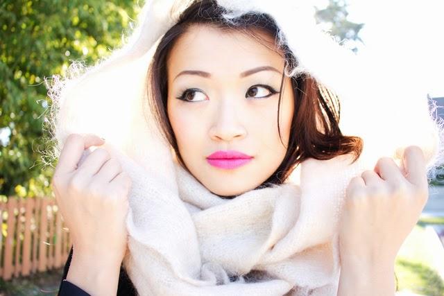 Vancouver Blogger Jasmine Zhu, Romwe union jack sweater, Velvet midi skirt, infinity scarf, Cathering Malandrino purse