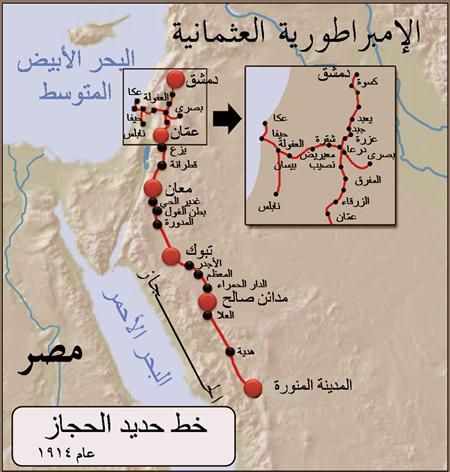 Hicaz Demir Yolu Hattının Orjinal Arapça Haritası