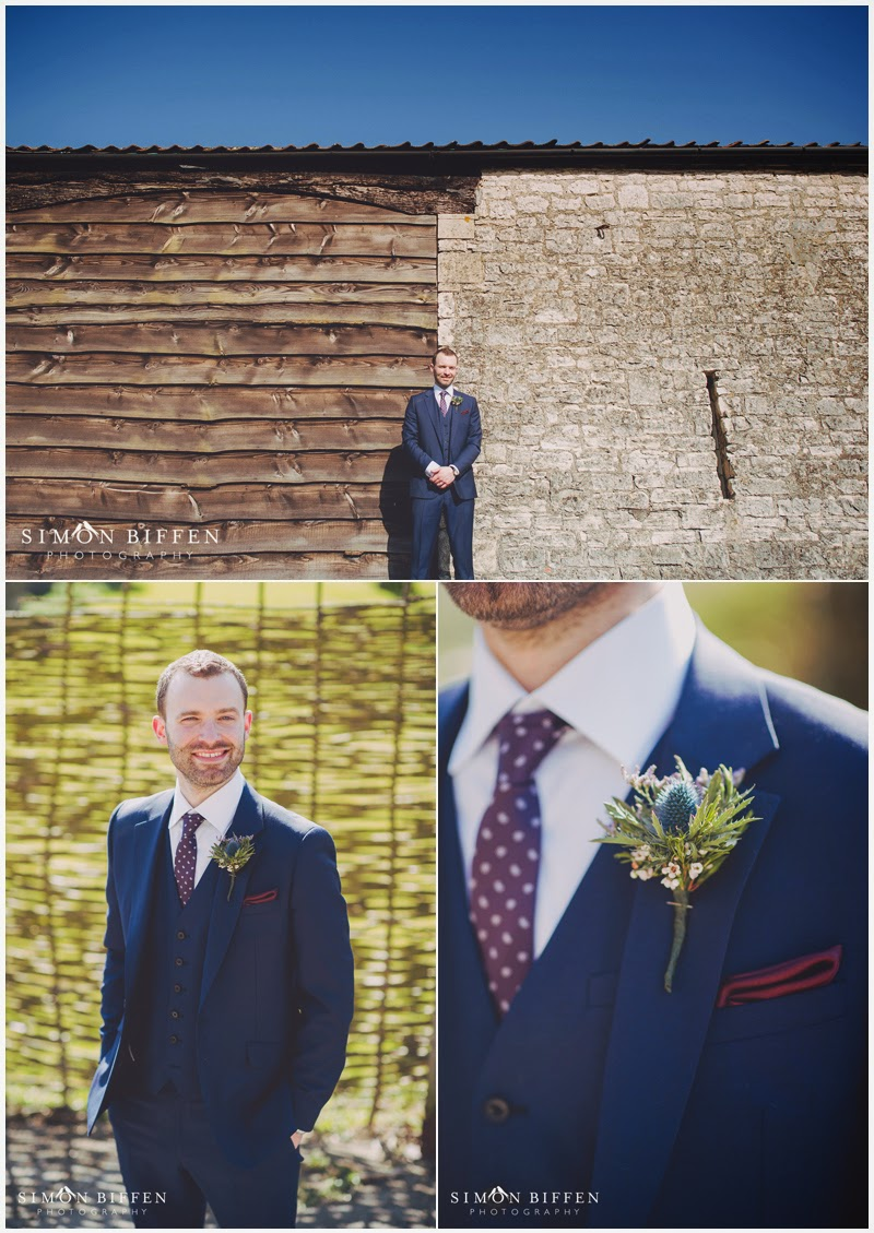 Groom portrait at Priston Mill wedding