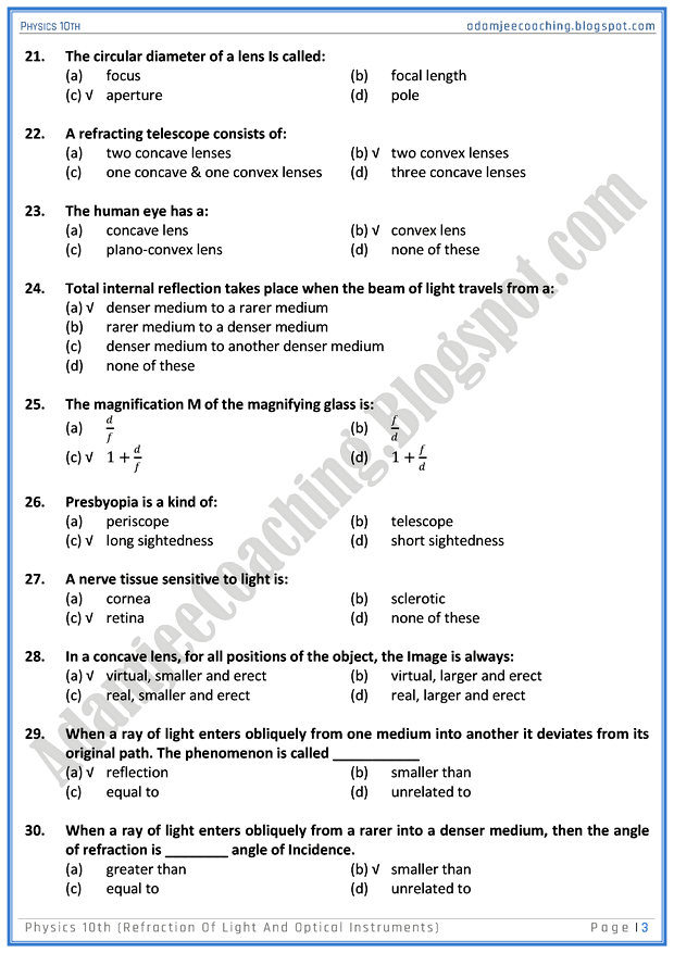 refraction-of-light-and-optical-instruments-mcqs-physics-10th