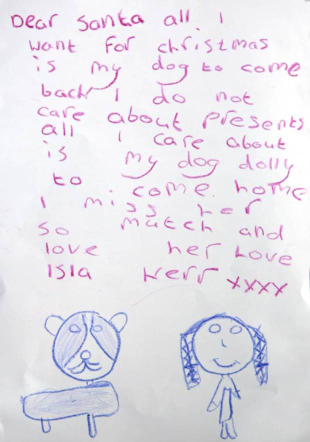 White wolf little girl writes heartbreaking letter to santa asking and the miracle isla got an early christmas present on monday when she was reunited with dolly a photo from the facebook group get dolly home posted the spiritdancerdesigns Gallery