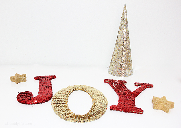 diy sequin letters for the holidays