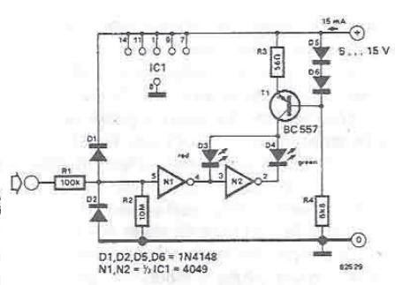 Projet de sch ma pour le circuit testeur de signaux de ttl for Circuit logique cmos