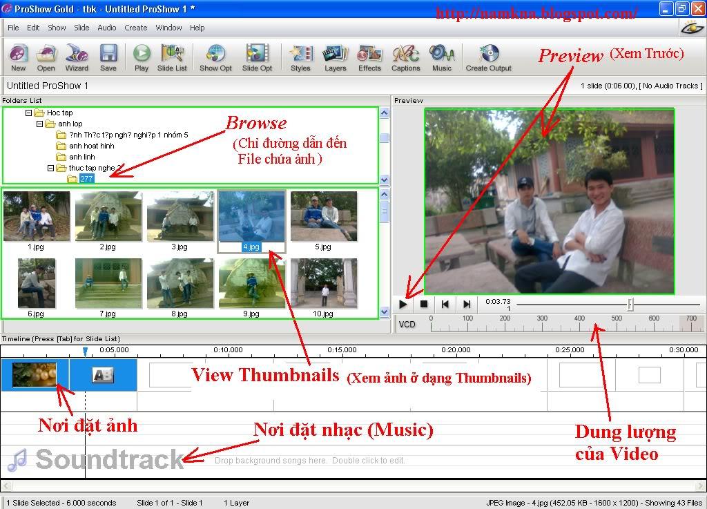 (chỉ đường dẫn) đến thư mục chứa các hình ảnh mà bạn muốn cho vào cuốn p