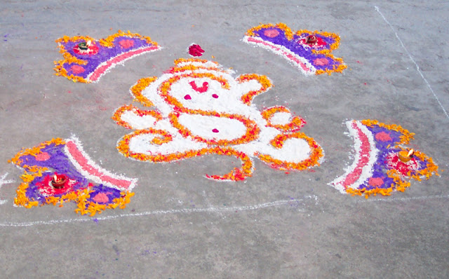 Flower Ganesha Rangoli