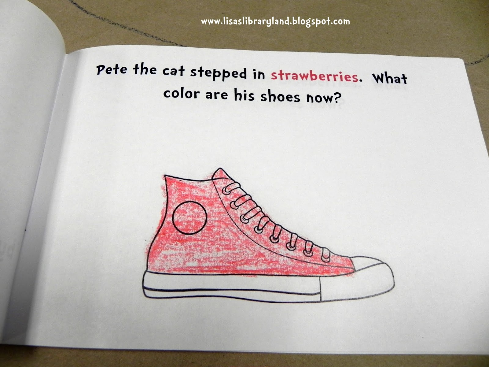 we have two big skills we are working on at this station the first is comprehension as you can see on the page above i wrote the word strawberries in
