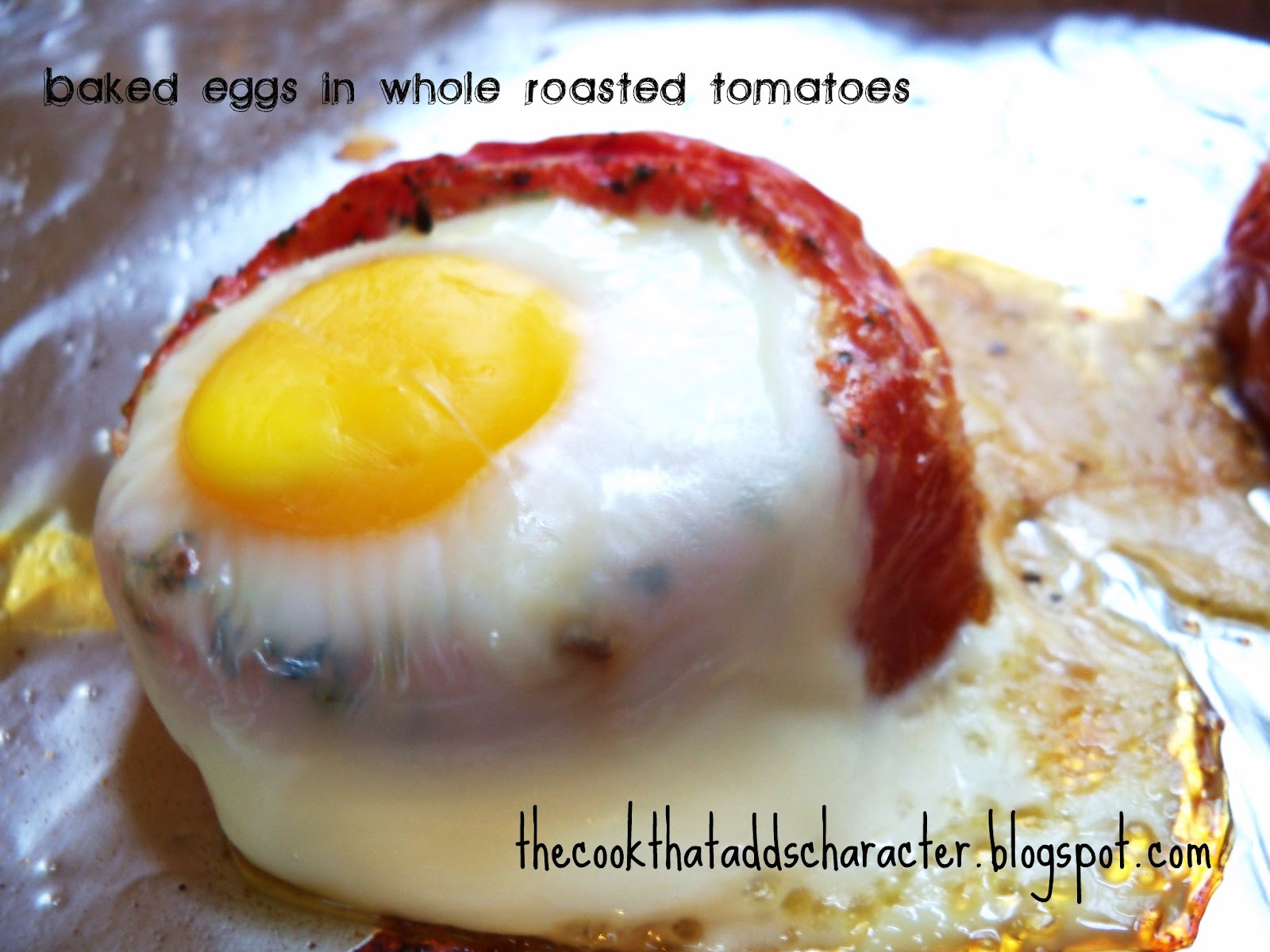 Make it your own.: Baked Eggs in Whole Roasted Tomatoes