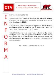 C.T.A. INFORMA CRÉDITO HORARIO ANTONIO PÉREZ, SEPTIEMBRE 2018