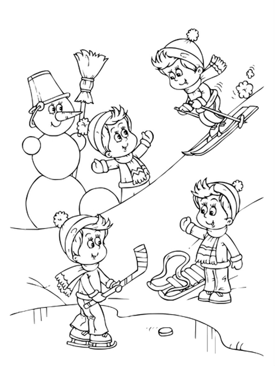 Sports Photograph Coloring Pages Kids: Winter Sports Coloring ...
