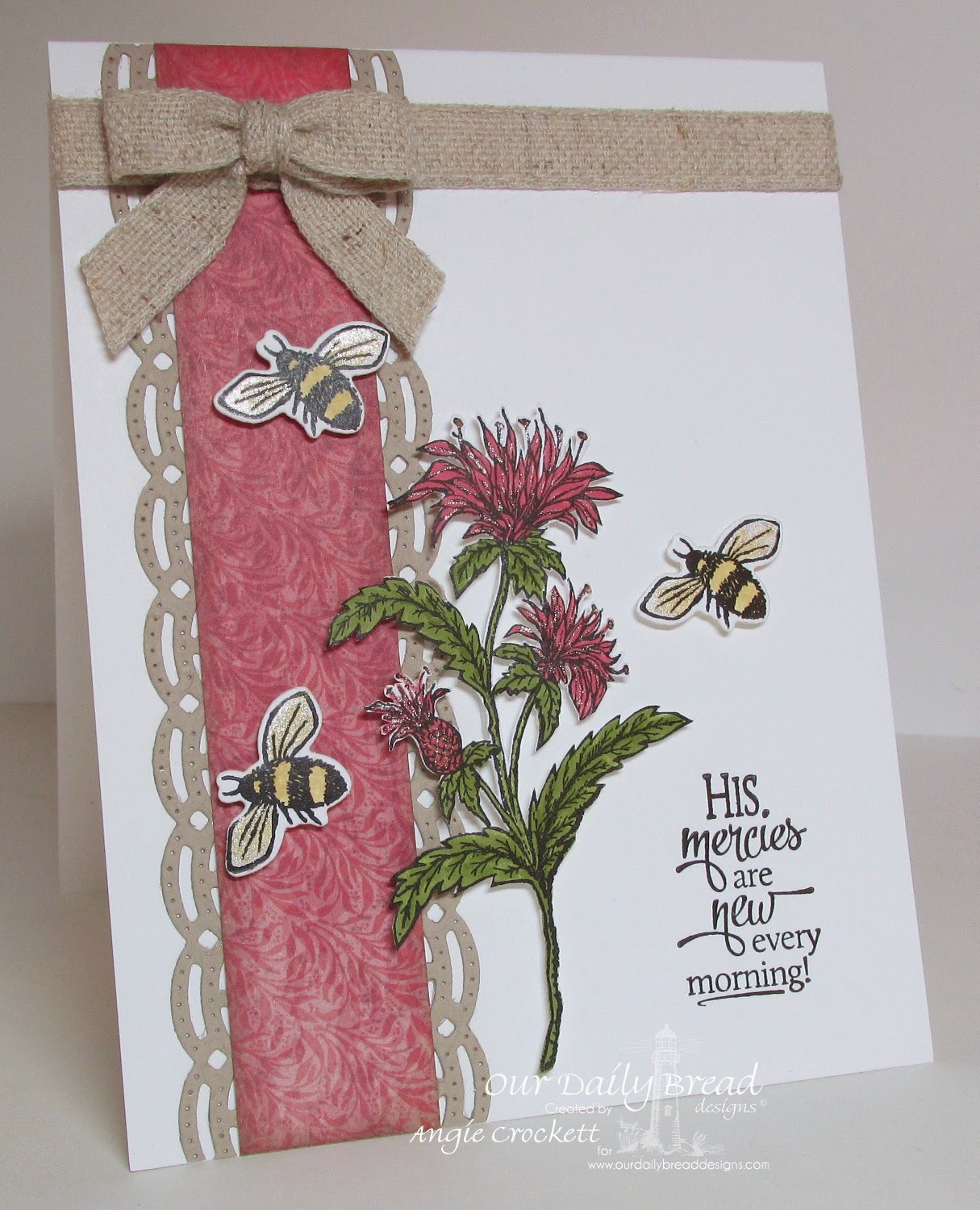 ODBD Sentiments Collection 3, Bee Balm, Bee Happy, ODBD Custom Zinnia and Leaves Die Set (bees), ODBD Custom Beautiful Borders die set, Blooming Garden Collection Designer Paper, Card Designer Angie Crockett