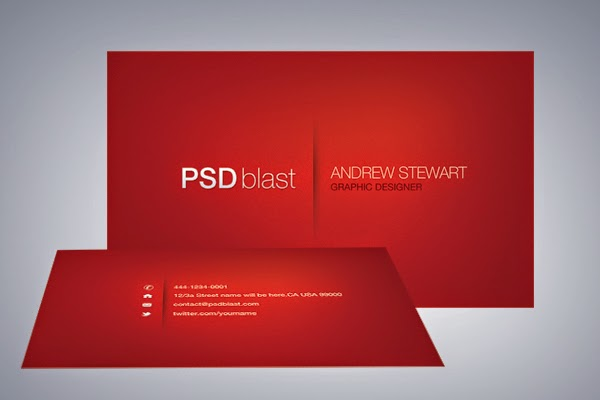 Red Color Business Card Template PSD