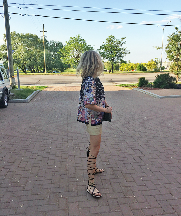Vintage floral top, vintage leather mini skirt, high-top gladiator sandals