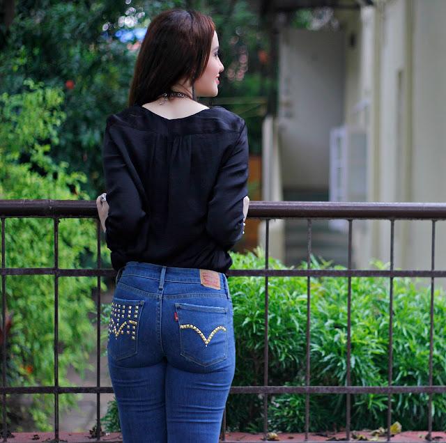 Levis 711 Skinny Jeans, Levis Black Silk Shirt, Distressed Jeans,Studded Back Pockets