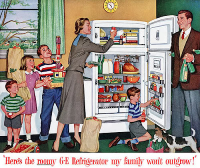 advertisement for a GE refrigerator from the 1950s