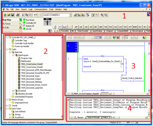 Learn allen bradley plc online rslogix 5000 software components main screen at default configuration ccuart Choice Image