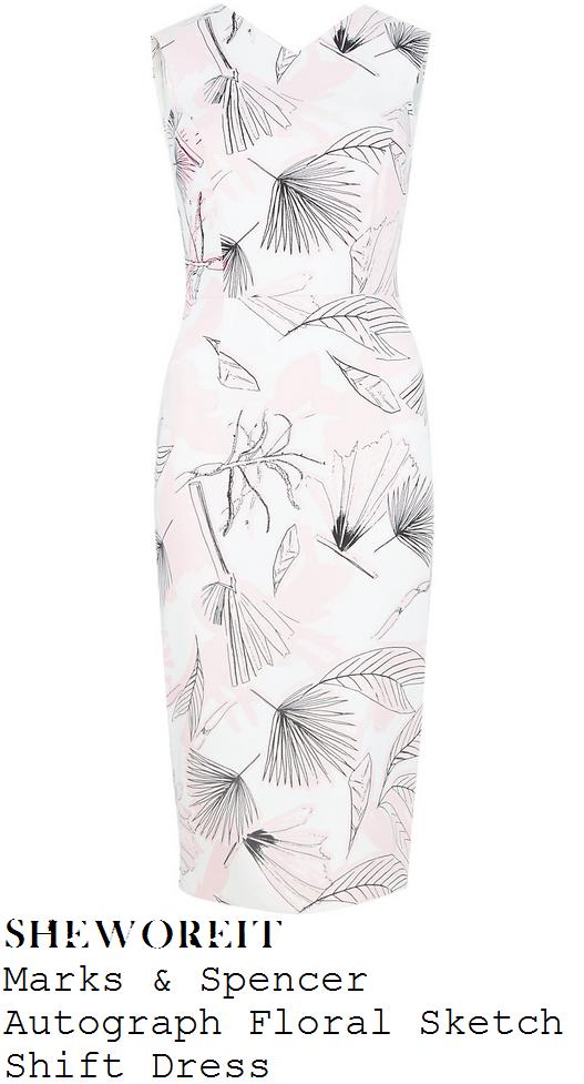 amanda-holden-ivory-cream-black-leaf-sketch-print-shift-dress-this-morning