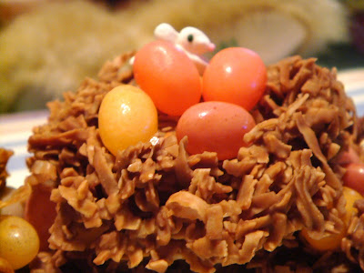 Chocolate-coconut nests with jelly bean eggs