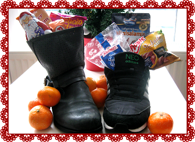 Shoes filled with candy for Saint Nicholas Day in Germany