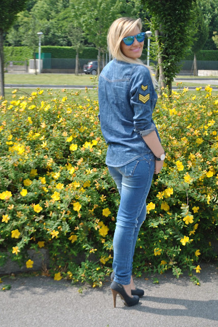 denim total outfit outfit maggio 2015 outfit primaverili casual spring outfit spring casual outfit how to wear jeans and heels how to wear skinny jeans how to wear denim shirt fashion bloggers italy fashion blogger italiane denim day maggio 2015 29  maggio 2015
