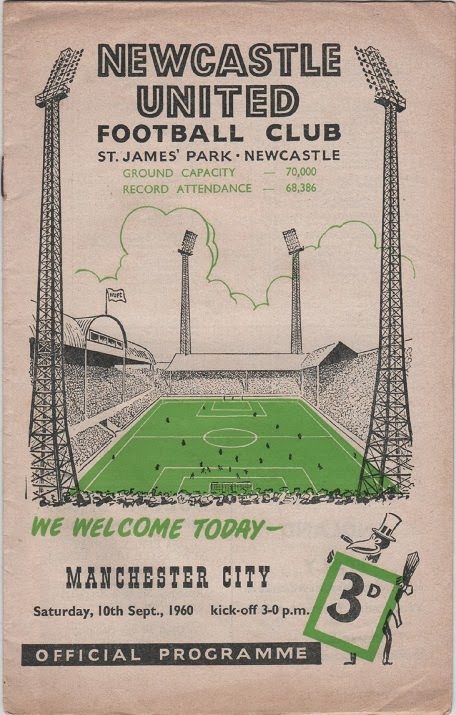 Football Programme for Newcastle United v Manchester City, September 1960