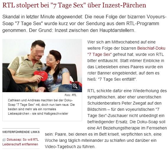 Welt Online: Inzest Pärchen bei RTL 7 Tage Sex
