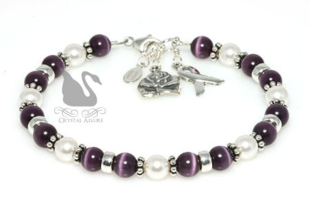 Cystic Fibrosis Awareness Rose Charm Bracelet B002 D3