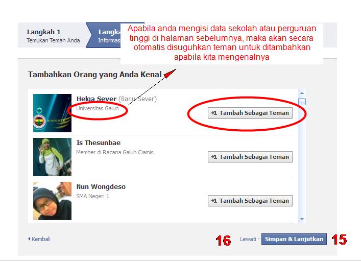 Pada gambar facebook di atas anda akan diberi pilihan rekomendasi