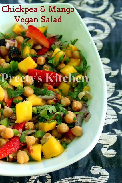 Preety's Kitchen: Chickpea & Mango Vegan Salad / Side Dish