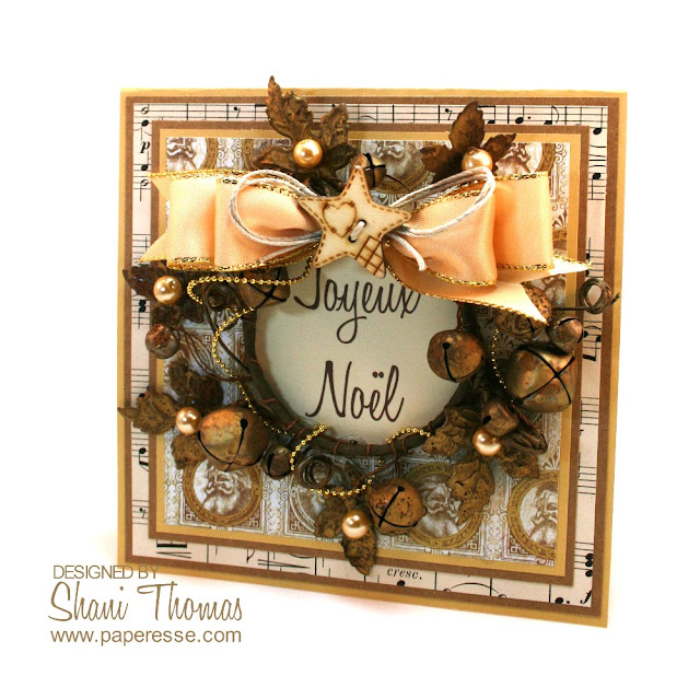 Upcycled candle ring, wreath Christmas card by Paperesse.