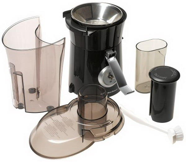 Big Mouth Pro Juice Extractor has extra large capacity feed chute, and strong die cast metal clips for professional style processing whole fruits & vegetables. Has super powerful 1.1 Horsepower motor for smooth, easy juice extraction, large dishwasher safe pulp bin. Stainless steel juice strainer. Juice cup included.