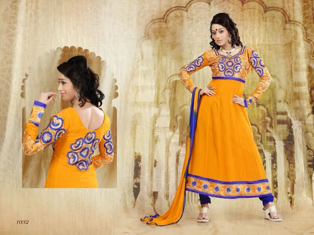 Indian Frock Anarkali Suits With Embroidered Sleeves Work
