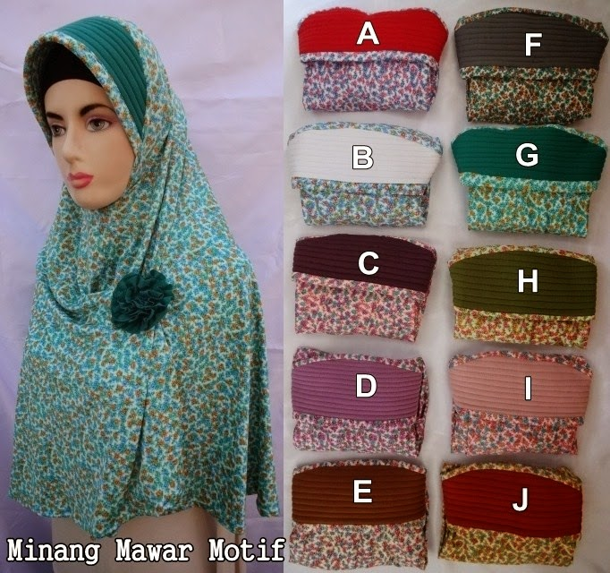 Jilbab Minang Mawar Motif