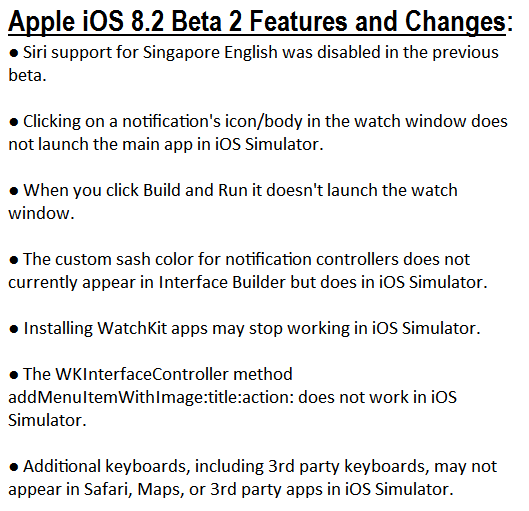 Apple iOS 8.2 Beta 2 (12D445d) Features and Changes