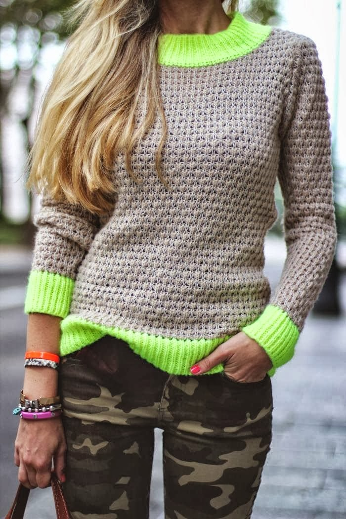 Army Pants With Simple and Casual Sweater