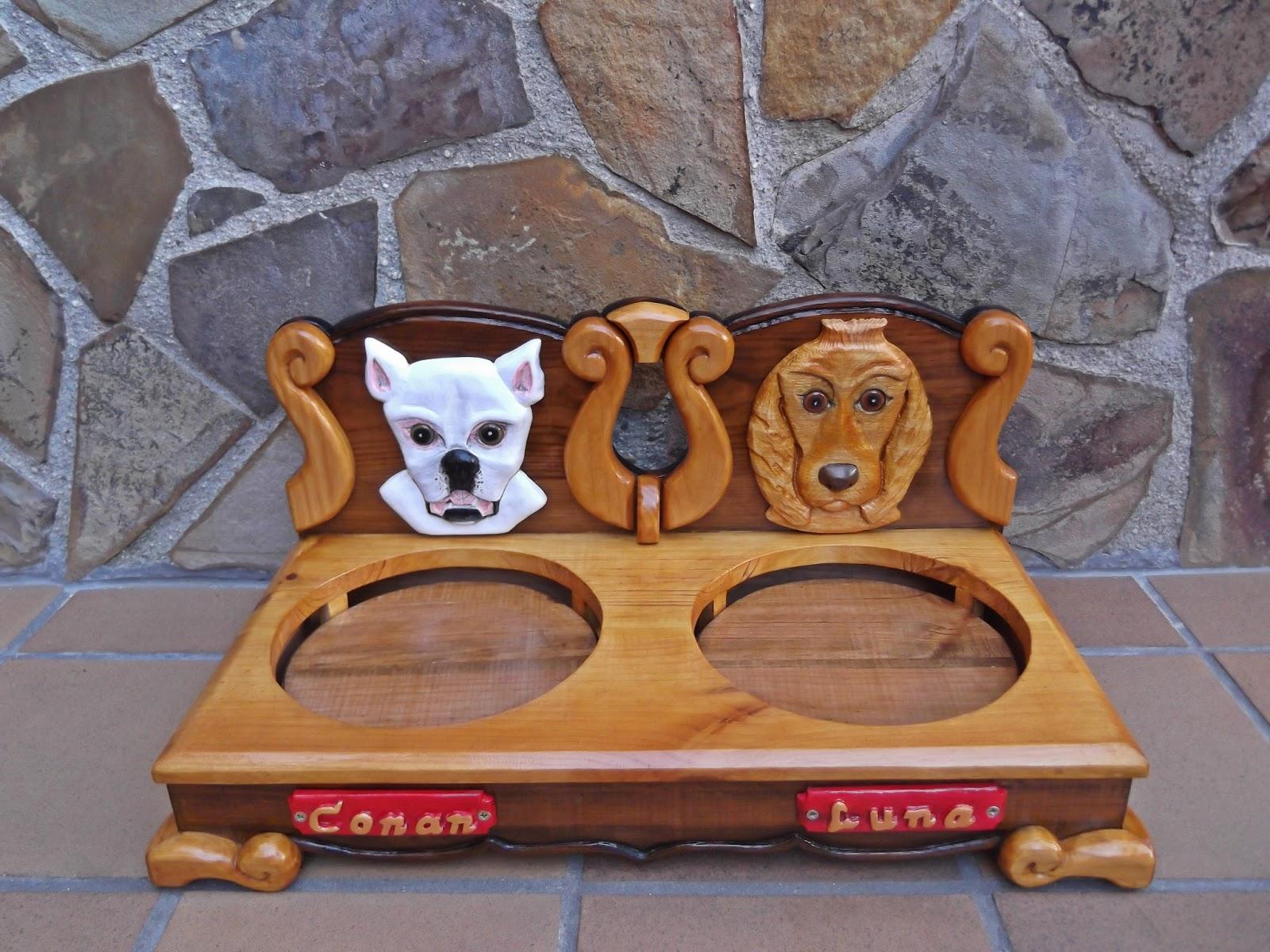 El artesano en madera comedero para perros doble for Comederos para perros