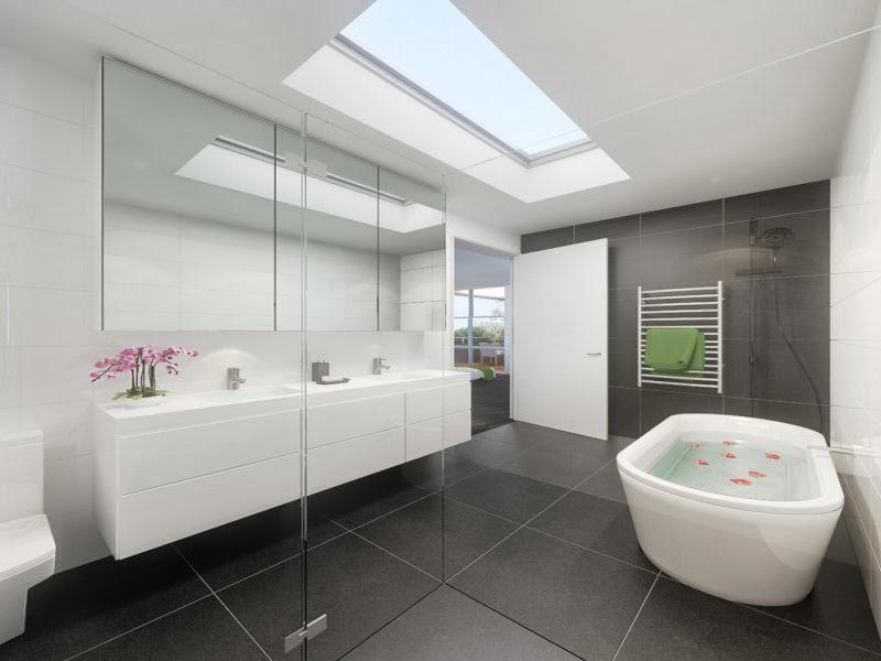 3 conception de salle de bains moderne avec baignoire for Deco s de bains