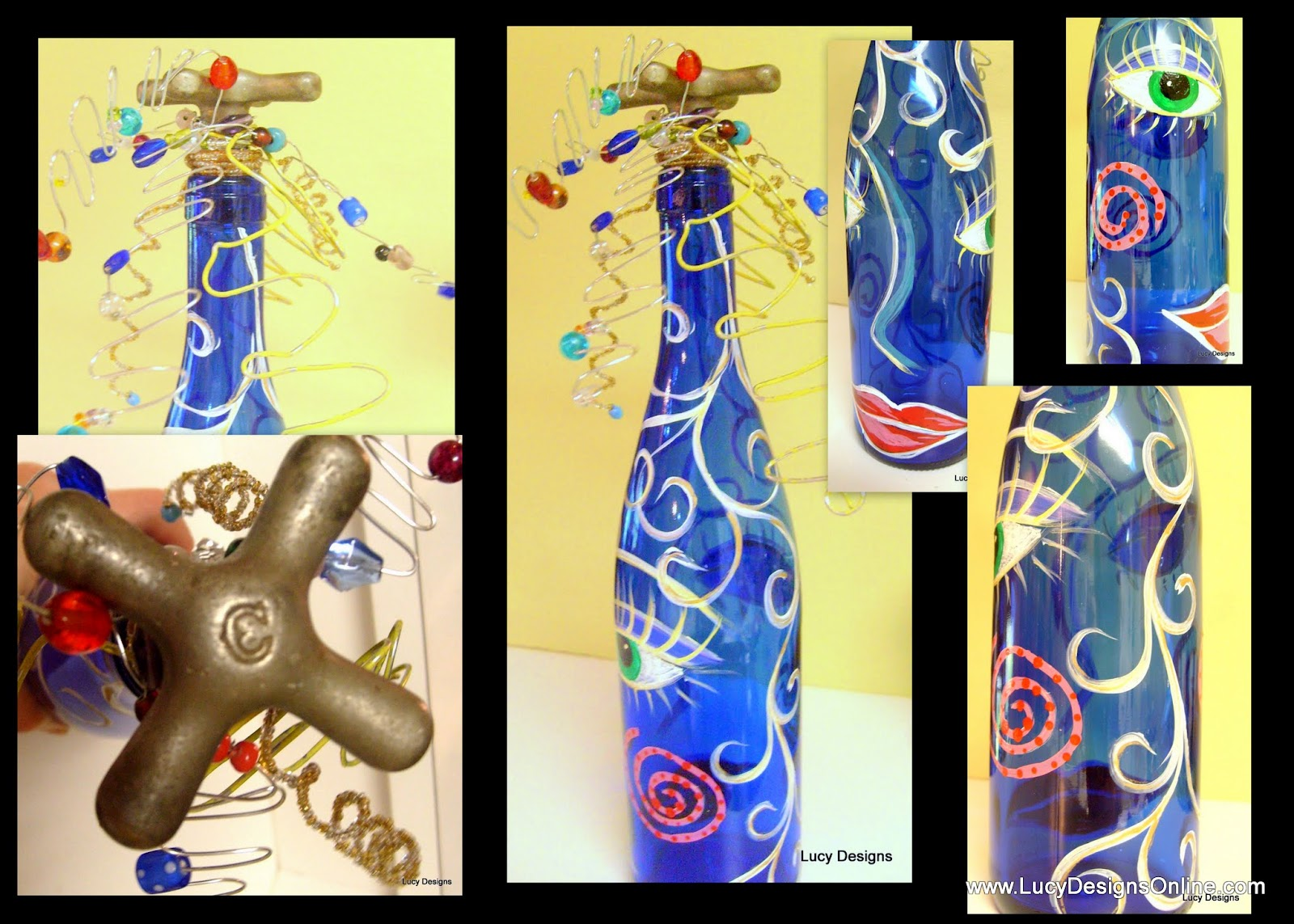 "hand painted ""face"" glass bottle with faucet stopper"