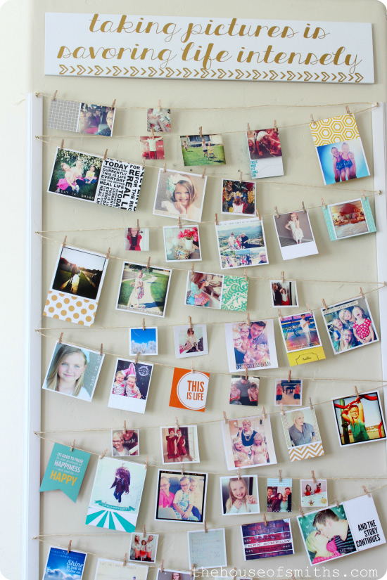 Instagram photo wall display for How to make creative things for your room