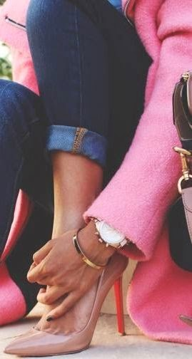 pink and denim and louboutins lovely dress