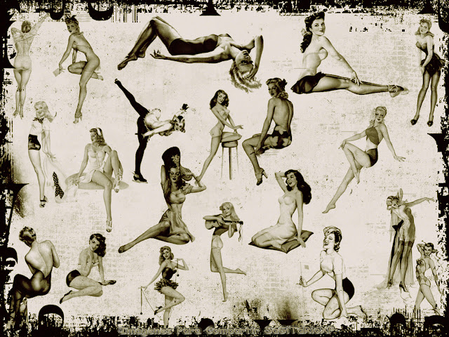 Wallpaper en blanco y negro | Chicas pin up