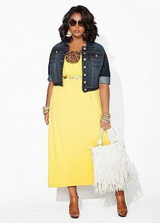 Moda plus size - moda tamanhos grandes casaco de ganga e vestido