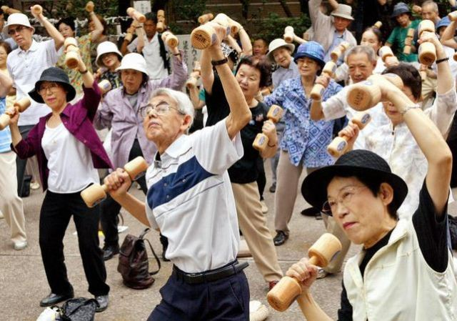 japanese old men excersizing