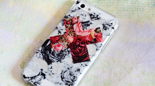 More photos of the sharp, clear floral contrast X print on the clear phone case from Clash Cases.