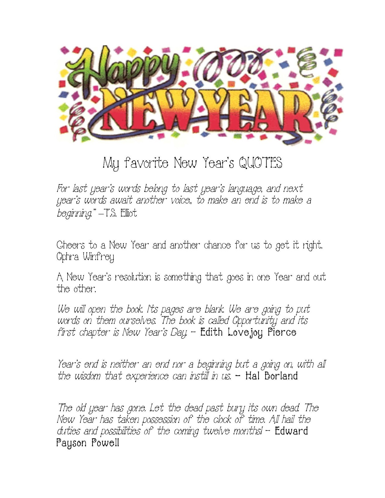 Happy New Year Quotes - Classroom Freebies