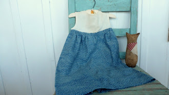 Norma Schneeman's Early Made Childs Dress - Vintage Blue Calico