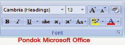 tampilan group font
