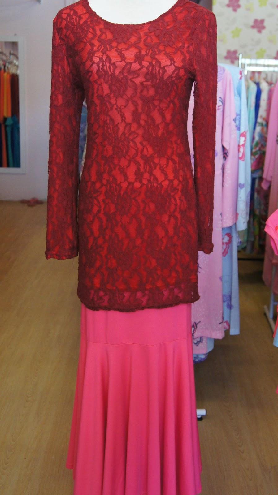 Butik Qaireen: Kurung Moden Lace Red+pink code KL1303 (SOLD!!)
