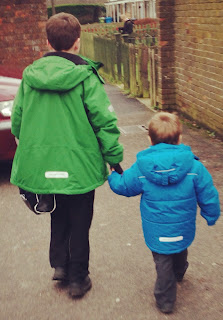 When big brother comes to meet you on the way home from school!