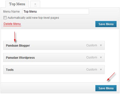 wordpress custom menu