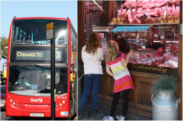Autobus y carnicería en Chiswick, Londres